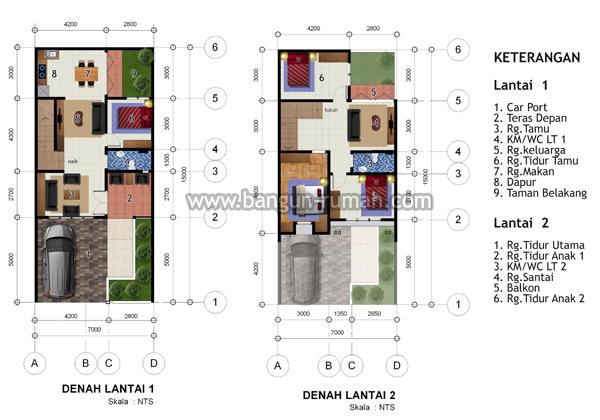 desain rumah 2 lantai di lahan 7 x 15 m2 studio desain