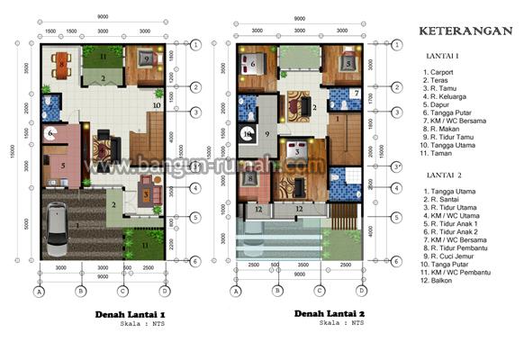 Desain Rumah Minimalis 2 Lantai Di Lahan 9 X 15 M2 Desain