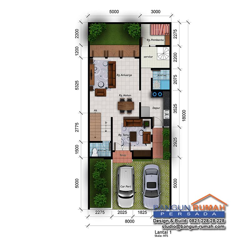 Desain Rumah 2 Lantai Di Lahan  M 2 Lt