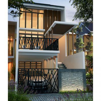 desain rumah 5 x 20 m2 minimalis tiga lantai ~ desain
