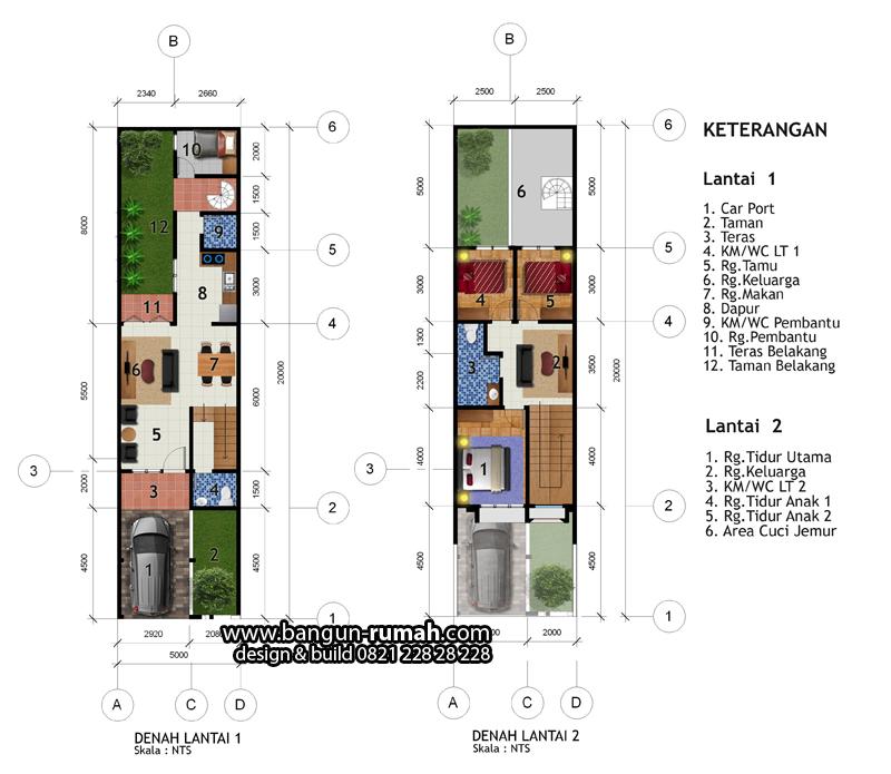 Denah Rumah Lebar 5 Meter X 20 Meter Desain Rumah Online