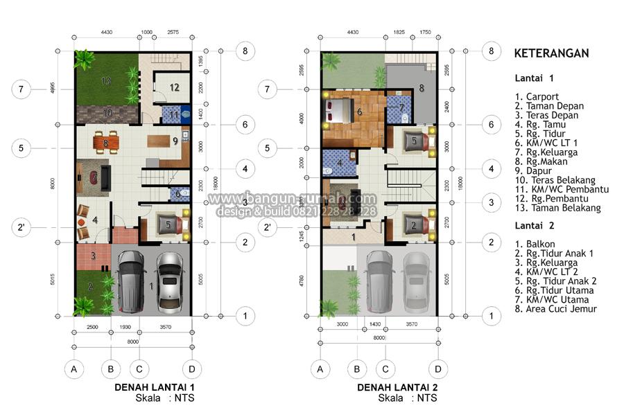 Denah Rumah 2 Lantai Ukuran Tanah 8 X 18 Meter Inspirasi