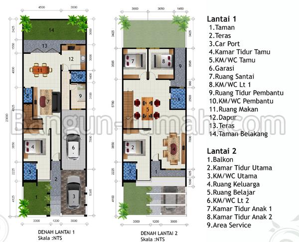 Desain Rumah  Lantai Di Lahan  M X  M Desain Rumah Online