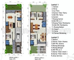 desain rumah 2 lantai di lahan 7,5 x 23 m2   brp - 702