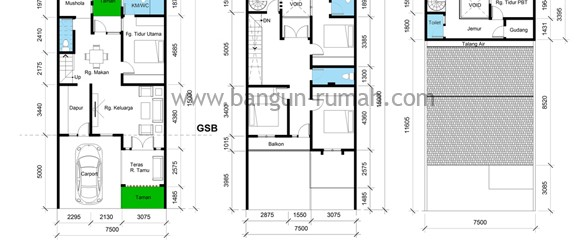 Denah Rumah Ukuran Tanah 7,5 M x 15 M ( Luas Tanah = 112,5 M2 )