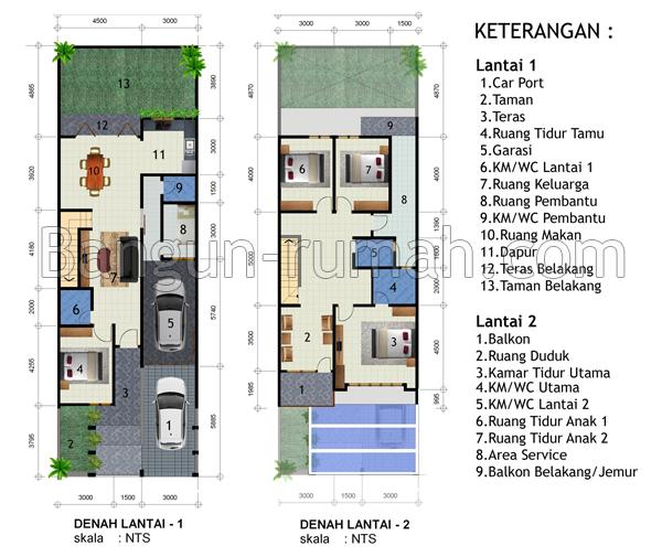 desain rumah minimalis 2 lantai di lahan 9 x 15 m2 share