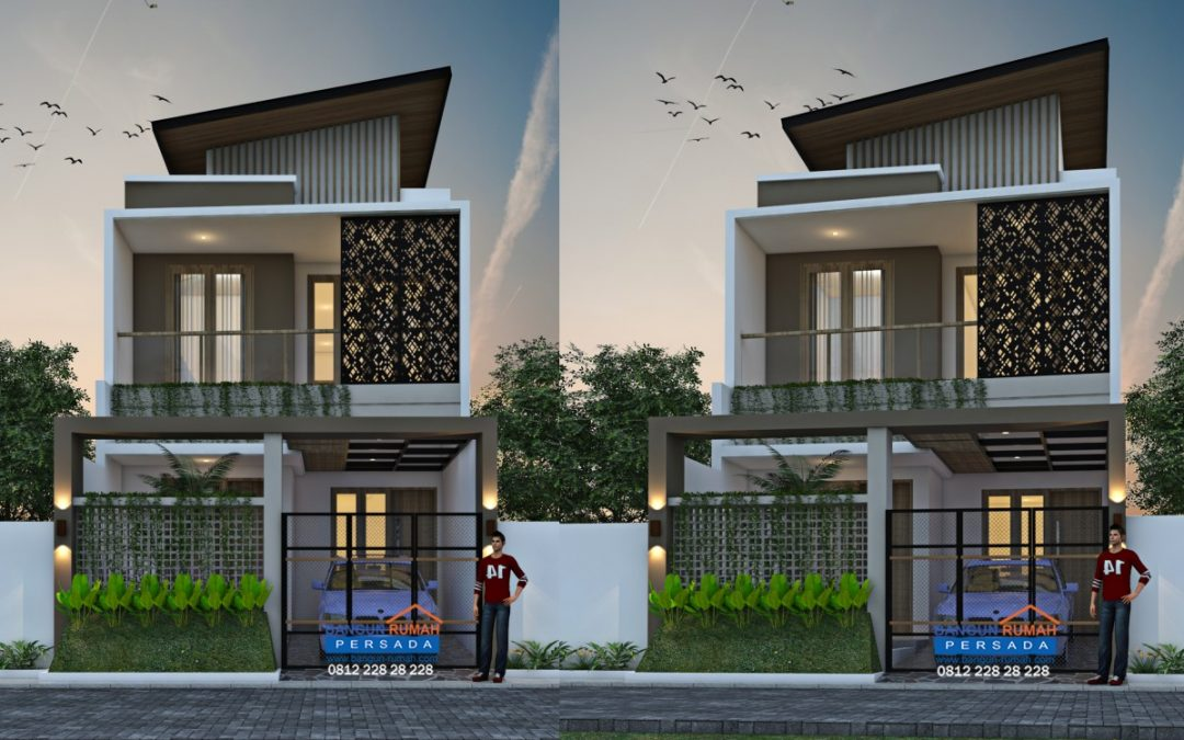 Desain Rumah 6 x 15 M2 2 Lantai Bergaya Modern Tropis
