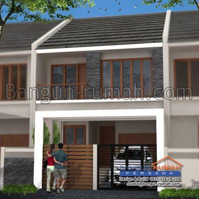 desain rumah 2 lantai di lahan 7 x 18 m2 | brp - 703