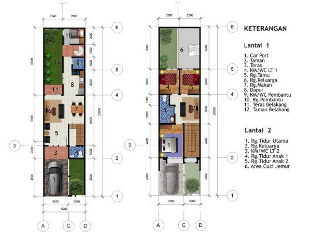 Desain Rumah 5 x 20 M2 Dua Lantai