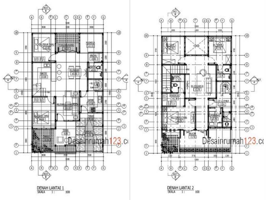 Desain Rumah 9 x 15 M2 Dua Lantai Ada Mushola