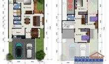 Desain Rumah 10 x 17,7 M2 Dua Lantai Gaya Natural Tropis