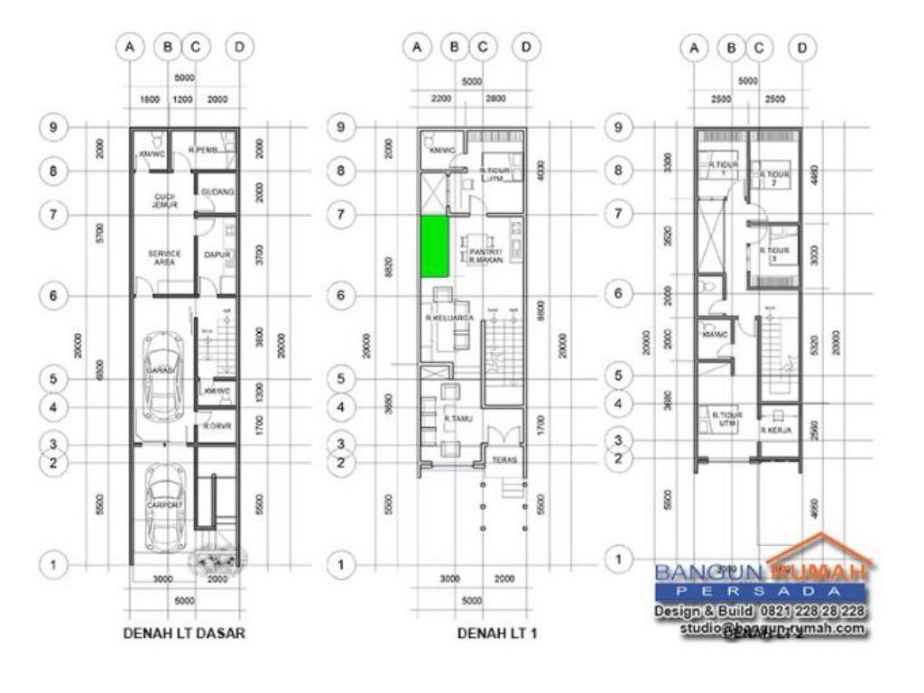 Desain Rumah 5 x 20 M2  Minimalis Tiga Lantai
