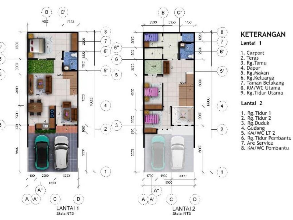 Desain Rumah  M2 Dua Lantai Ada Taman Indoor