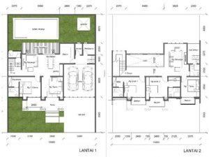 desain rumah klasik 15 x 20 m2 dua lantai ada kolam renang