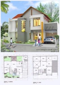 desain rumah 2 lantai ukuran tanah 15,5 m ( muka ) x 13,5