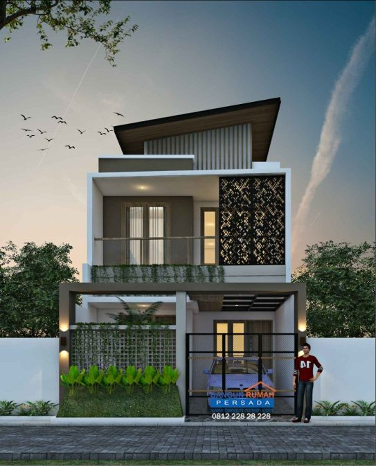 Desain Rumah Minimalis 2 Lantai Beratap Unik Di lahan Ukuran 6 x 15 M2