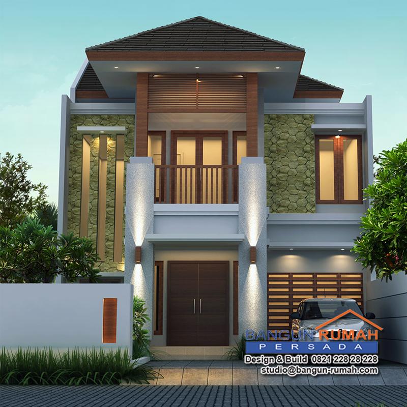 desain rumah tropis 2 lantai di lahan 9 x 20 m2 brp