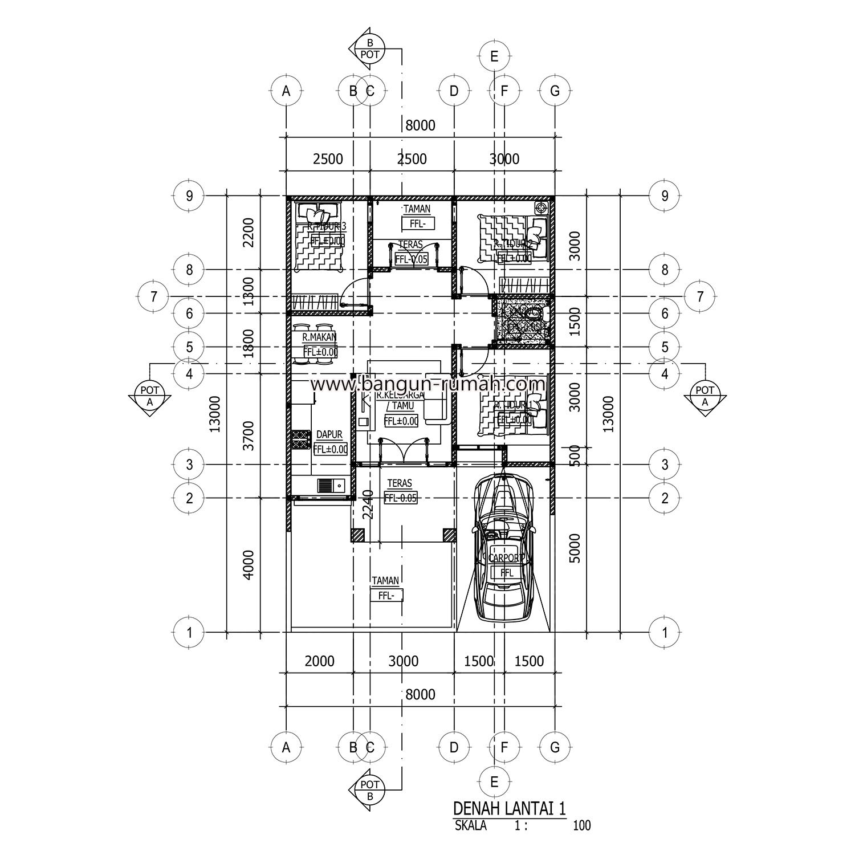 Desain Rumah 1 Lantai Di Lahan 8 X 13 M2 Desain Rumah Online