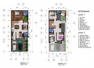 desain rumah hook 2 lantai di lahan 7 x 17 m2.