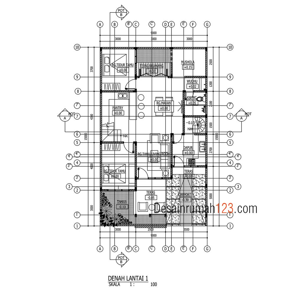 Desain Rumah 9 X 15 M2 Dua Lantai Ada Mushola Desain Rumah Online
