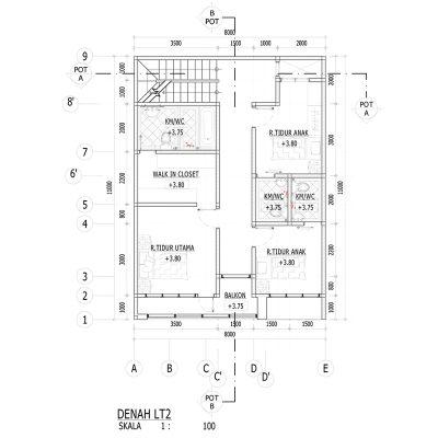 denah lantai 2 ~ desain rumah online