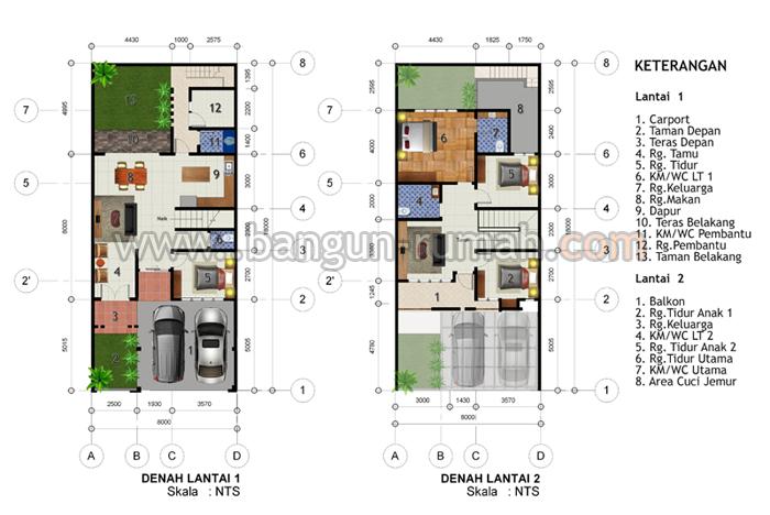 Contoh Denah Rumah Lebar 8 Meter  esain rumah 2 lantai di lahan 8 x 18 m2 desain rumah online