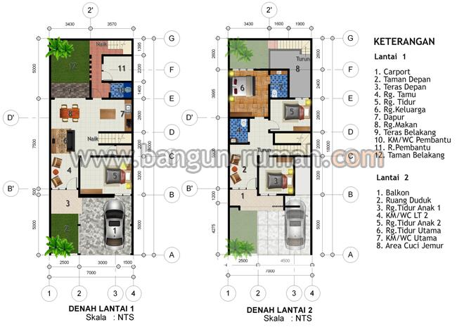 Contoh Denah Rumah Lebar 4 Meter  desain rumah 2 lantai di lahan 7 x 18 m2 desain rumah online