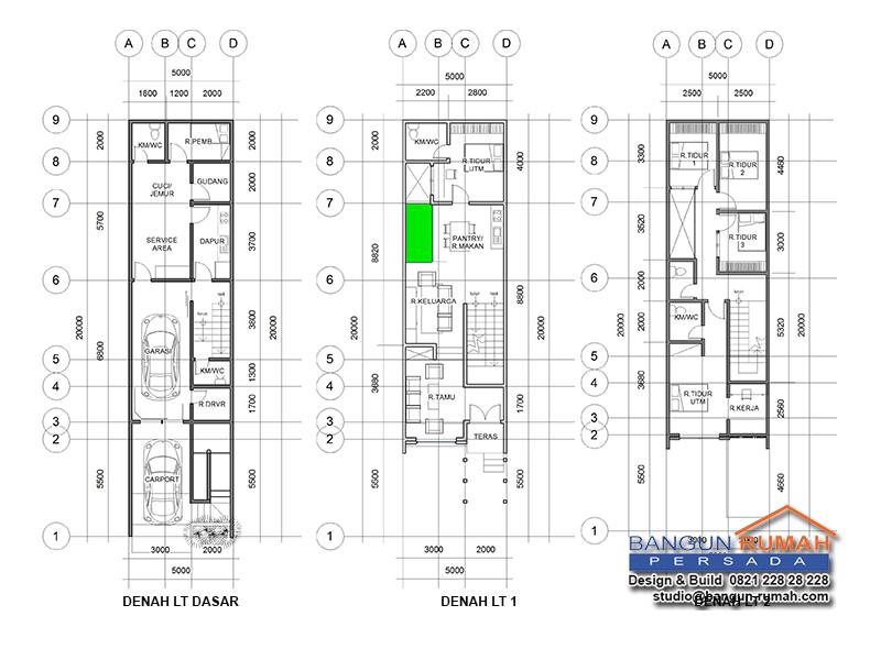 desain rumah 5x20 3 kamar tidur 1 lantai