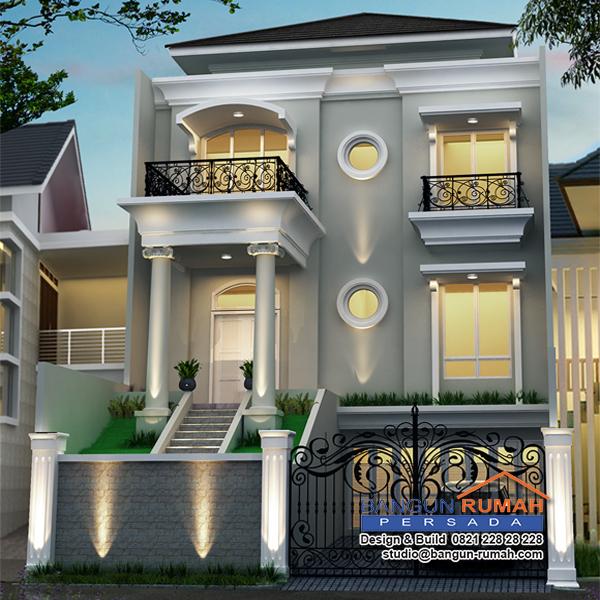 Desain Exterior Rumah Mewah 1 Lantai  desain rumah klasik 3 lantai ukuran 10 x 21 m2 desain