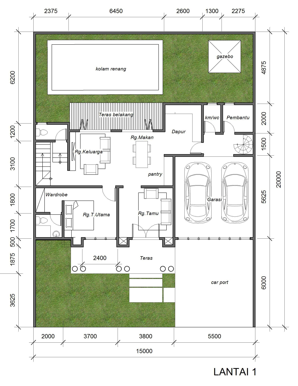 Desain Rumah Klasik 15 X 20 M2 Dua Lantai Ada Kolam Renang Desain