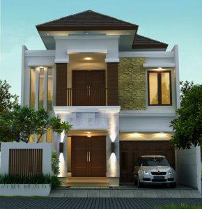 desain rumah tropis 2 lantai di lahan 9 x 20 m2