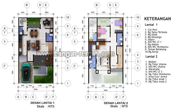 Desain Rumah 2 Lantai di Lahan 8 x 15 M2  BRP - 806