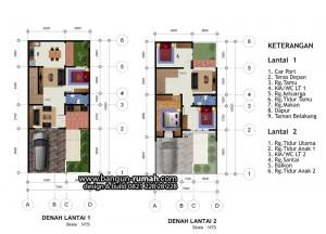 denah rumah 2 lantai lebar 7 meter x 15 meter ~ desain