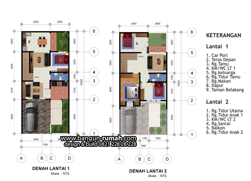 Denah Rumah 2 Lantai Lebar 7 Meter X 15 Meter Desain Rumah Online