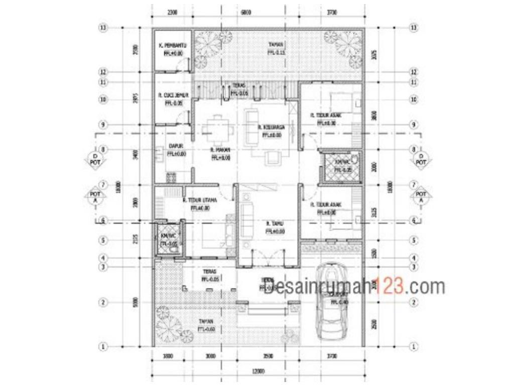 Desain Rumah 12 X 18 M2 Gaya Tropis Satu Lantai Desain Rumah Online