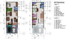 Desain Rumah 6 x 18 M2 Dua Lantai Ada Taman Indoor