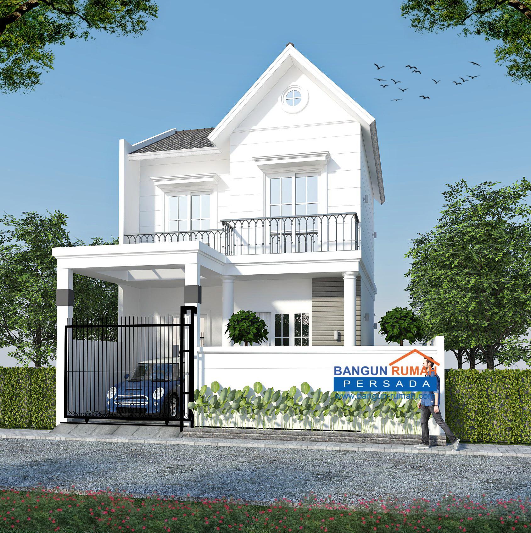 Desain Rumah Klasik Mungil 2 Lantai Di Lahan Ukuran 9 X 12 M2