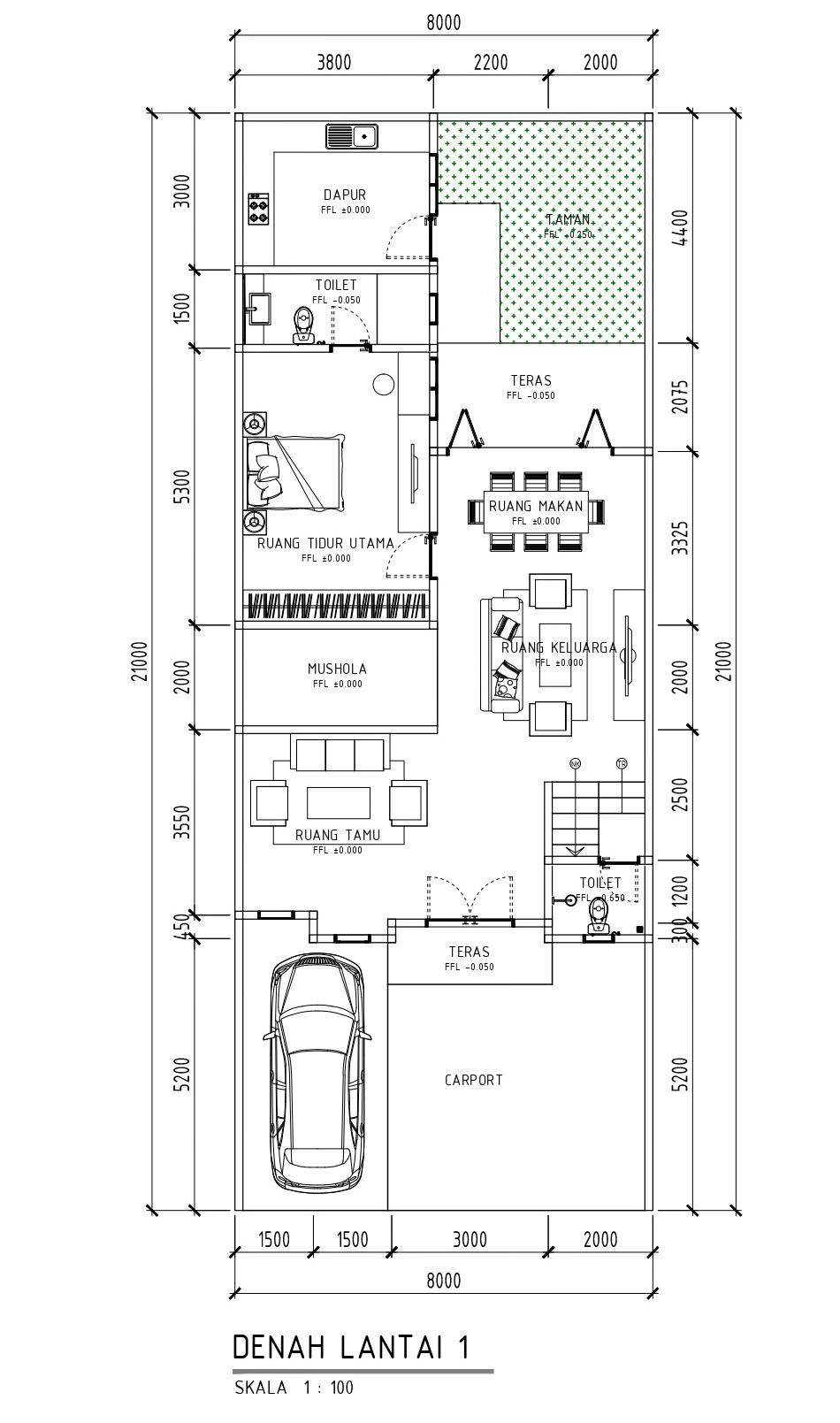 Desain Rumah Tropis Minimalis 2 Lantai Di Lahan 8 X 21 M2