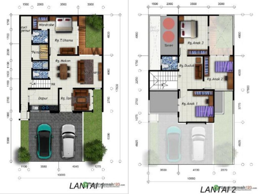 Desain Rumah 2 Lantai 10x17 7 M2 Dengan 5 Ruang Tidur