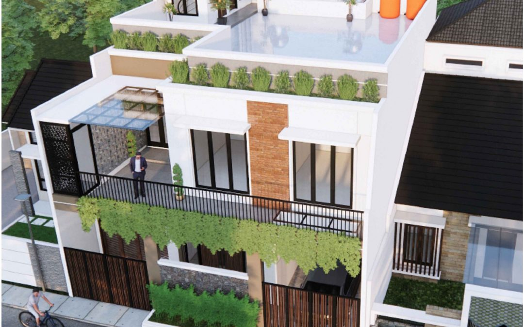 Desain Rumah Minimalis Dengan Rooftop Di lahan Berukuran 11 x 14 M2